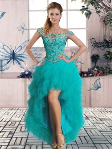 Modern Turquoise Lace Up Winning Pageant Gowns Beading and Ruffles Sleeveless High Low