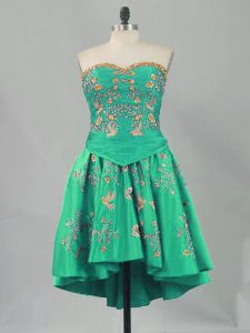 Unique Sleeveless Mini Length Embroidery Lace Up Winning Pageant Gowns with Turquoise