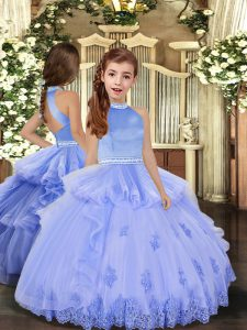 Inexpensive Halter Top Sleeveless Little Girls Pageant Gowns Floor Length Beading and Appliques Lavender and Pink And Yellow Tulle