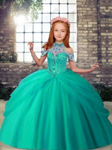Sleeveless Tulle Floor Length Lace Up Girls Pageant Dresses in Turquoise with Beading