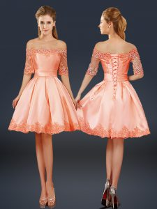 Extravagant Mini Length Peach Pageant Dress Toddler Satin Half Sleeves Lace and Appliques
