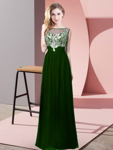 Dark Green Sleeveless Beading Floor Length High School Pageant Dress