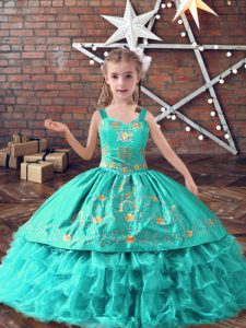 Floor Length Ball Gowns Sleeveless Turquoise High School Pageant Dress Lace Up