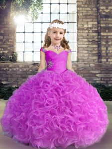 On Sale Floor Length Lilac Pageant Gowns For Girls Straps Sleeveless Lace Up