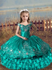 Inexpensive Sleeveless Floor Length Embroidery and Ruffled Layers Lace Up Little Girls Pageant Dress Wholesale with Turquoise