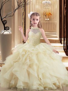Tulle Sleeveless Little Girls Pageant Gowns Brush Train and Beading and Ruffles