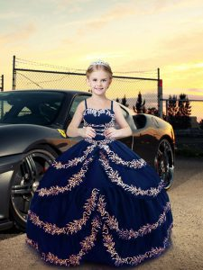 Navy Blue Pageant Gowns Wedding Party with Embroidery Straps Sleeveless Lace Up