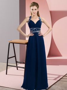 Floor Length Navy Blue Winning Pageant Gowns Straps Sleeveless Backless
