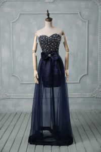Pretty Navy Blue Sleeveless Beading and Bowknot Floor Length Evening Gowns