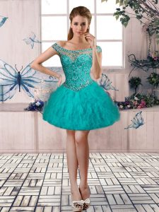 Sleeveless Beading and Ruffles Lace Up Pageant Dresses