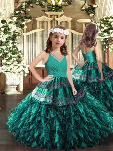 Turquoise Zipper V-neck Appliques and Ruffles Little Girls Pageant Gowns Organza Sleeveless