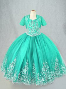 Tulle Sleeveless Floor Length Little Girls Pageant Dress Wholesale and Beading and Embroidery
