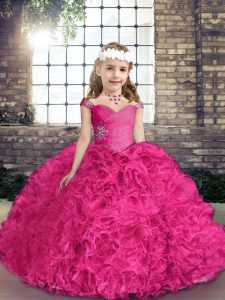 Fuchsia Fabric With Rolling Flowers Lace Up Pageant Dresses Sleeveless Floor Length Beading