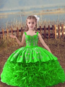 Little Girl Pageant Dress Straps Sleeveless Sweep Train Lace Up