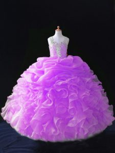 Trendy Sleeveless Organza Floor Length Zipper Pageant Dress for Girls in Lilac with Beading and Ruffles and Pick Ups