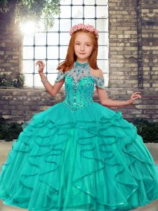 Turquoise Sleeveless Tulle Lace Up Little Girls Pageant Dress for Party and Wedding Party