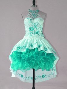 High Low Turquoise Pageant Dress Toddler Strapless Sleeveless Lace Up