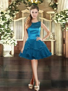 Super Blue Sleeveless Mini Length Ruffles Lace Up Custom Made Pageant Dress