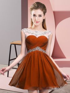 Customized Beading Winning Pageant Gowns Rust Red Backless Sleeveless Mini Length