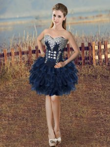 Shining Sleeveless Organza Mini Length Lace Up Pageant Gowns in Navy Blue with Beading and Ruffled Layers