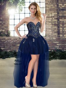 Sleeveless Lace Up High Low Beading Pageant Gowns