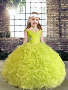 Yellow Green Lace Up Kids Pageant Dress Beading and Ruffles Sleeveless Floor Length