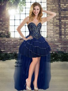 Stylish Navy Blue A-line Sweetheart Sleeveless Tulle High Low Lace Up Beading and Ruffled Layers Evening Gowns