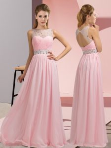 Glamorous Baby Pink Sleeveless Floor Length Beading Backless Evening Gowns