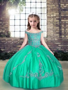 Floor Length Turquoise Child Pageant Dress Off The Shoulder Sleeveless Lace Up