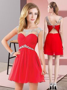 Sweet Chiffon Scoop Sleeveless Backless Beading Pageant Dress for Teens in Red