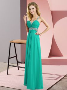 Turquoise Sleeveless Chiffon Criss Cross Pageant Dress for Teens for Prom and Party
