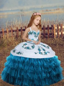 Blue Pageant Dresses Party and Wedding Party with Embroidery and Ruffled Layers Straps Sleeveless Lace Up