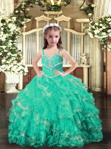 Excellent Floor Length Lace Up Pageant Dress for Womens Turquoise for Party and Wedding Party with Beading and Ruffles
