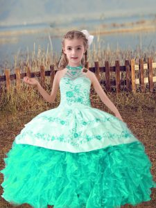 Floor Length Turquoise Pageant Dress Toddler Halter Top Sleeveless Lace Up