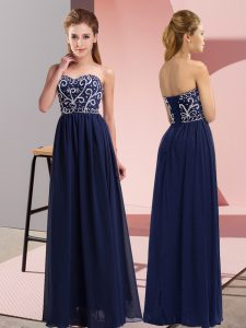 Chiffon Sleeveless Floor Length Pageant Dress for Girls and Beading