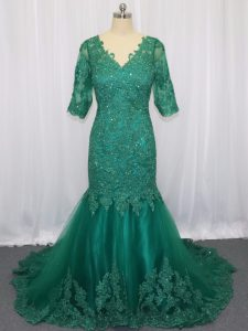 Latest Half Sleeves Brush Train Lace Up Lace and Appliques Custom Made Pageant Dress