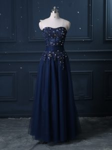 Sweetheart Sleeveless Pageant Gowns Floor Length Lace Navy Blue Tulle