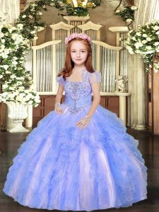 Blue And White Ball Gowns Beading and Ruffles Pageant Gowns For Girls Lace Up Tulle Sleeveless Floor Length