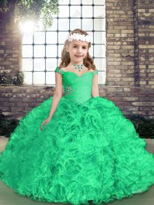 Ball Gowns Girls Pageant Dresses Green Straps Fabric With Rolling Flowers Sleeveless Floor Length Side Zipper