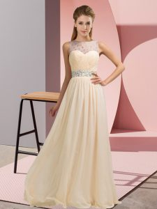 Beading Pageant Dresses Champagne Backless Sleeveless Floor Length