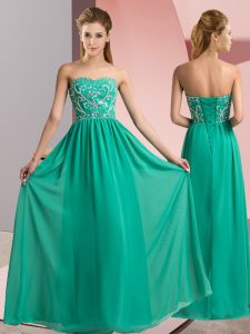 Adorable Turquoise Sleeveless Chiffon Lace Up Pageant Dress for Teens for Prom and Party