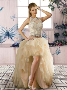 Champagne Sleeveless High Low Beading and Ruffles Clasp Handle Pageant Dress for Teens