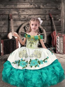 Elegant Turquoise Lace Up High School Pageant Dress Beading and Embroidery and Ruffles Sleeveless Floor Length