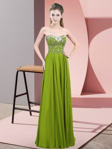 High Class Sleeveless Floor Length Beading Zipper Pageant Dress Womens with Olive Green