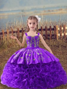 Wonderful Straps Sleeveless Pageant Dress Womens Sweep Train Embroidery Lavender Fabric With Rolling Flowers
