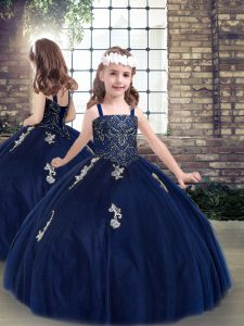 Unique Sleeveless Tulle Floor Length Lace Up Kids Formal Wear in Navy Blue with Beading and Appliques