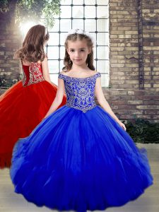 Inexpensive Royal Blue Ball Gowns Tulle Off The Shoulder Sleeveless Beading Floor Length Side Zipper Kids Pageant Dress