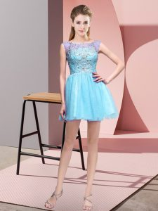 Designer Baby Blue Tulle Zipper Bateau Sleeveless Mini Length Pageant Gowns Beading
