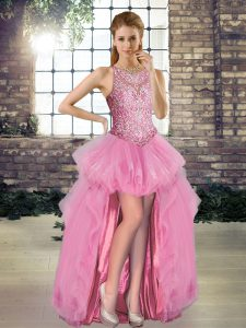 New Style Rose Pink Tulle Lace Up Scoop Sleeveless High Low Pageant Dress for Womens Beading