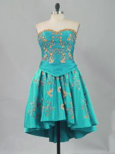 Ball Gowns Pageant Dress Wholesale Turquoise Sweetheart Sleeveless Mini Length Lace Up